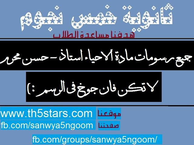 جميع رسومات منهج الاحياء ثانوية عامة 2016 ا - حسن محرم ثانوية خمس نجوم
