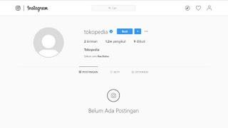 Akun Instagram Tokopedia hilang Kosong