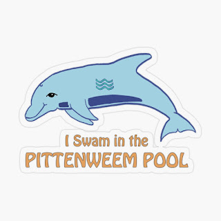 Sticker featuring a dolphin and the words I Swam in the Pittenweem Pool