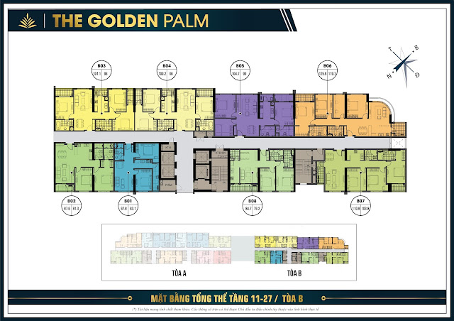 Mặt bằng tầng 11-27 tòa B The Golden Palm