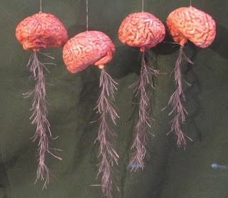 Four hanging replicas of pink brains with spinal cords attached.