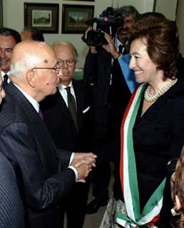 Moratti with the president Giorgio Napolitano on the occasion she was honoured by the state