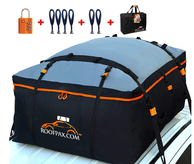 RoofPax Car Roof Bag & Rooftop Cargo Carrier. 19 Cubic Feet. 100% Waterproof Excellent Military Quality Car Top Carrier. Heavy Duty RoofBag. Fits All Vehicle