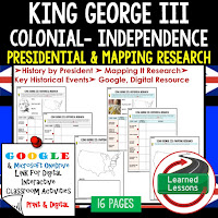 American History Presidential, Mapping Research (Print, Digital, Google) BUNDLE  COLONAIL AMERICA TO RECONSTRUCTION--> American History Research Graphic Organizers, American History Map Activities, American History Digital Interactive Notebook, American History Presidential Research, American History Summer School, American Colonies to American Revolution