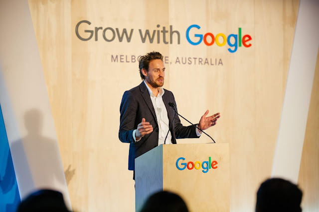 A photo of Google's Melbourne site leader Sean McDonell speaking at Grow with Google Melbourne.