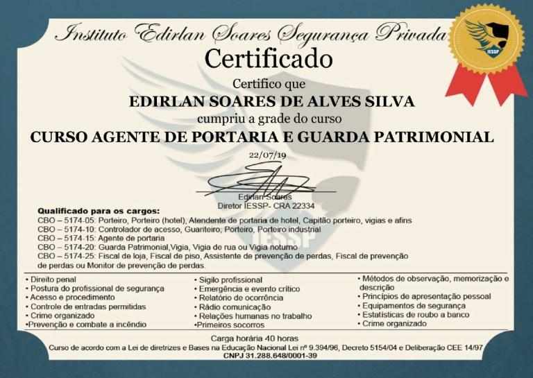 certificado curso de porteiro