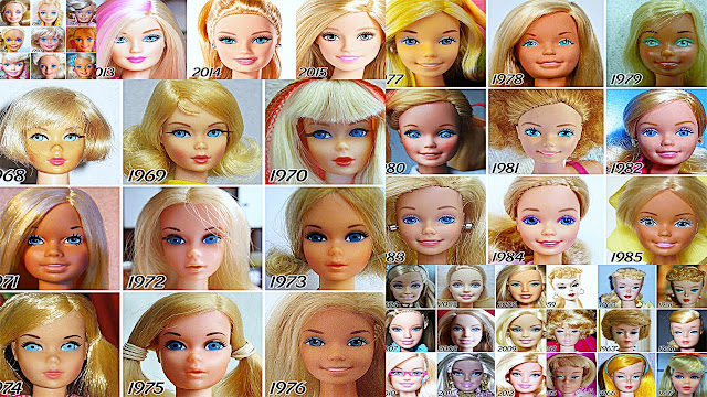 Barbie doll evolution over the years