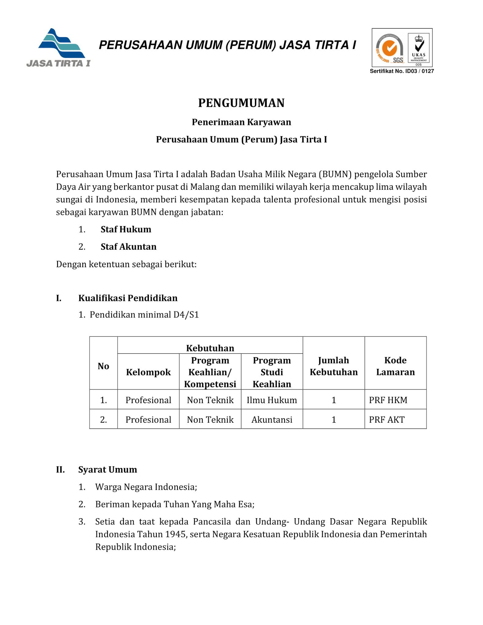 Lowongan Kerja BUMN Perusahaan Umum Jasa Tirta I Mei 2021