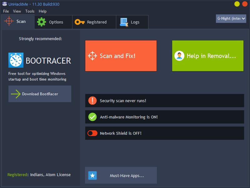 تحميل أقوى برنامج لإزالة جميع أنواع الفيروسات والجذور الخبيثة والبرامج الضارة UnHackMe 11.40 Build 940 مع التفعيل