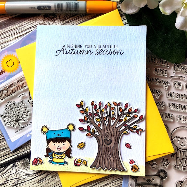 Sunny Studio Stamps: Fall Kiddos Happy Harvest Customer Card by Noga Shefer
