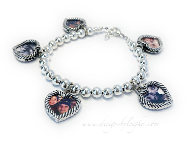 Heart Picture Frame Bracelet with 10 Pictures