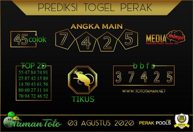 Prediksi Togel PERAK TAMAN TOTO 03 AGUSTUS 2020