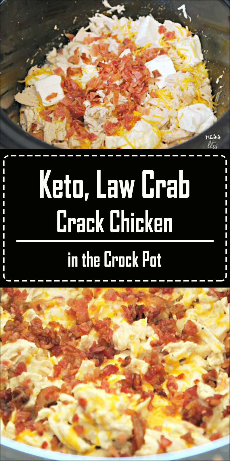 This Crack Chicken in the Crock Pot is keto friendly and low carb. But you don't have to follow a low carb lifestyle to enjoy it. The whole family will love this creamy, cheesy chicken dish. #keto #lowcarb #crockpot #slowcooker #crackchicken #HealthyDinnerRecipesEasy