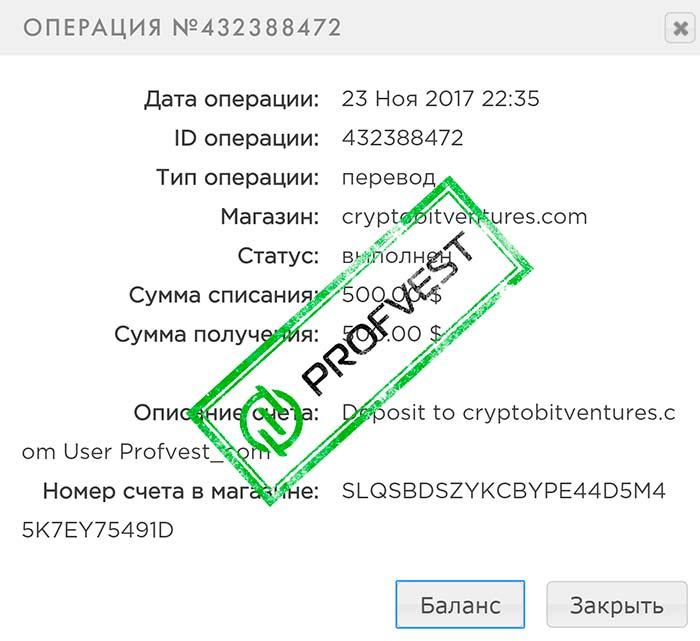 Депозит в CryptoBitventures