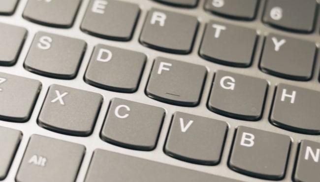 Keyboard of Lenovo IdeaPad Slim 3i laptop.