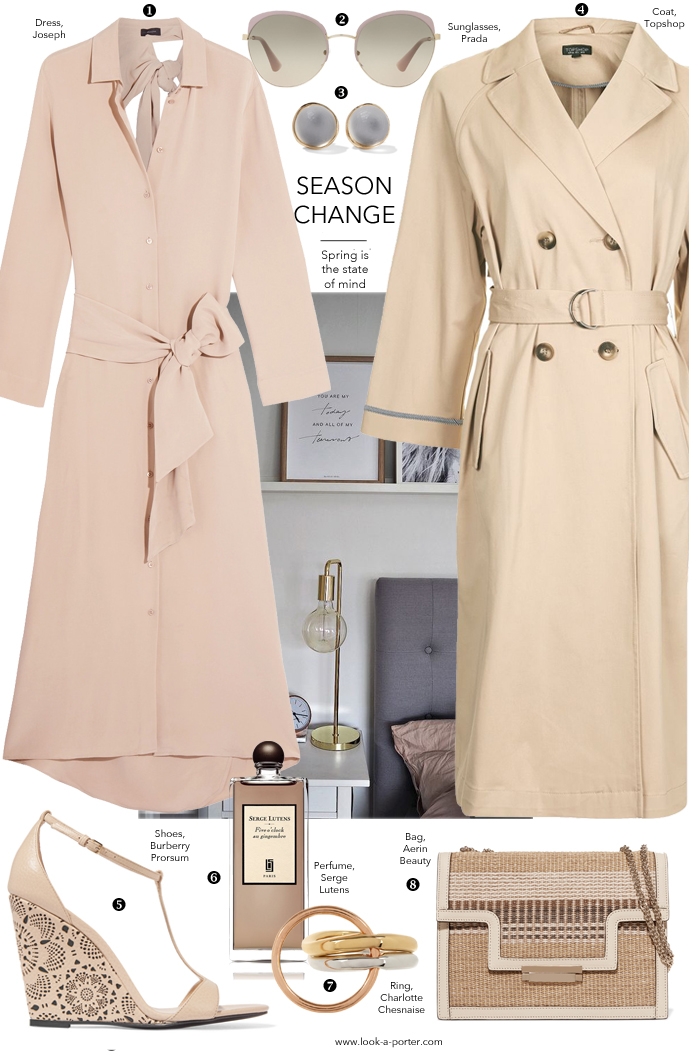 Spring is the state of mind, so styling silk shirtdress, trench and sandals for a timeless outfit featuring Topshop, Joseph, Burberry, Serge Lutens, Charlotte Chesnaise for www.look-a-porter.com fashion blog / style inspiration / outfits