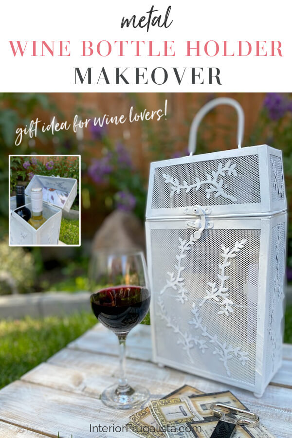 A thrift store Vintage Wood Rattan and a Metal Wine Bottle Carrier get one-of-a-kind makeovers for summer for two budget-friendly hostess gift ideas. #metalwinecarrier #winehostessgift