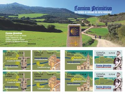 Carnet con 8 sellos del Camino de Santiago Primitivo
