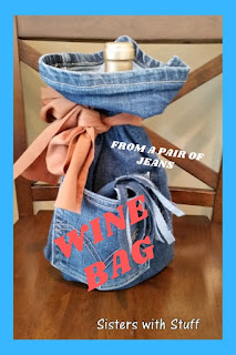 Wine bottle gif bag from a pair of jeans