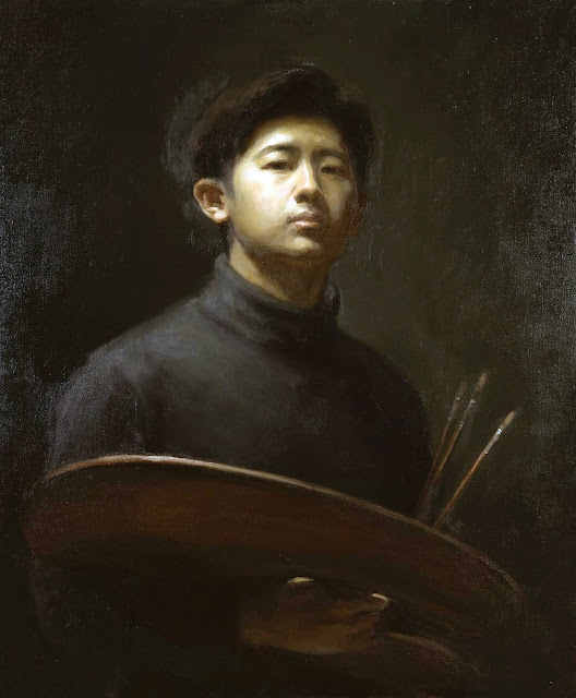 Wang Qiyue, Self Portrait, Portraits of Painters, Fine arts, Portraits of painters blog, Paintings of Wang Qiyue, Painter Wang Qiyue