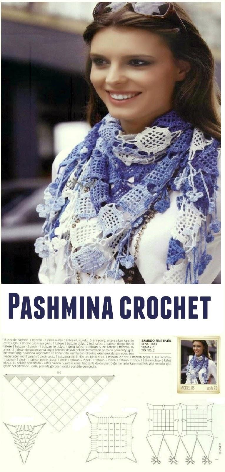 Pashmina crochet gama colores