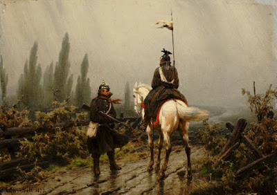 A painting of two men in 19th century military uniform conversing on a muddy road. One rides a white horse and carries a spear with two small banners, the other stands huddled with a wooden stock gun tucked under one arm. There is a strong wind, and the brushstrokes in the grey sky suggest rain.