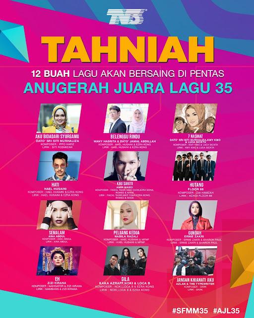 Semi Final Muzik - Muzik 35, #SFMM35, #AJL35, Anugerah Juara Lagu 35, Finalis AJL35, Senarai 12 Lagu AJL35,