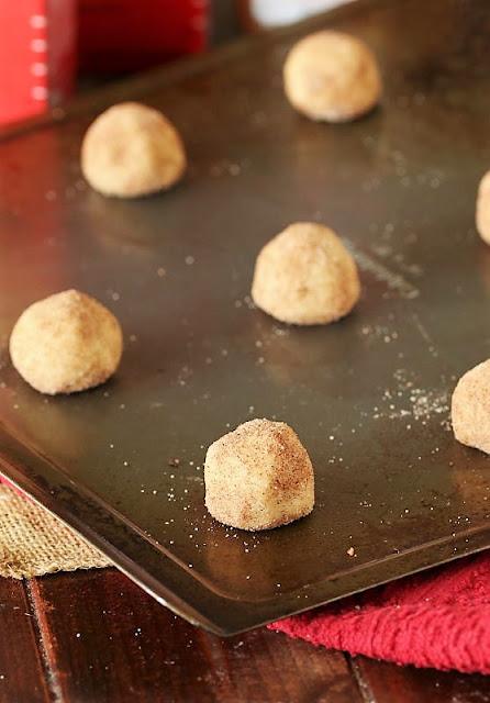 Cake Mix Snickerdoodles Dough Balls on Baking Sheet Image
