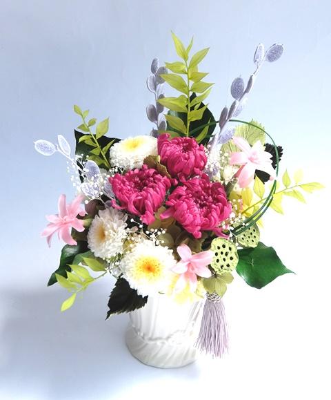 プリザーブドフラワーお供え花/輪菊とチューベローズ