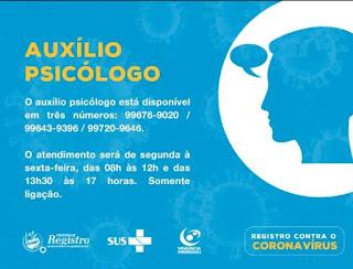 CORONAVÍRUS: Saúde Municipal  de Registro-SP disponibilizará atendimento psicológico por telefone