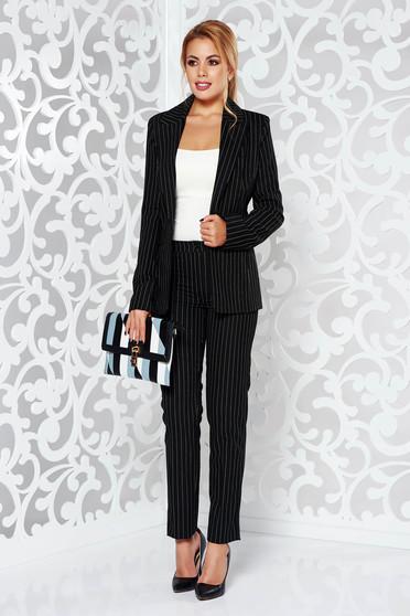 Pantaloni dama negri office conici cu talie medie din stofa usor elastica