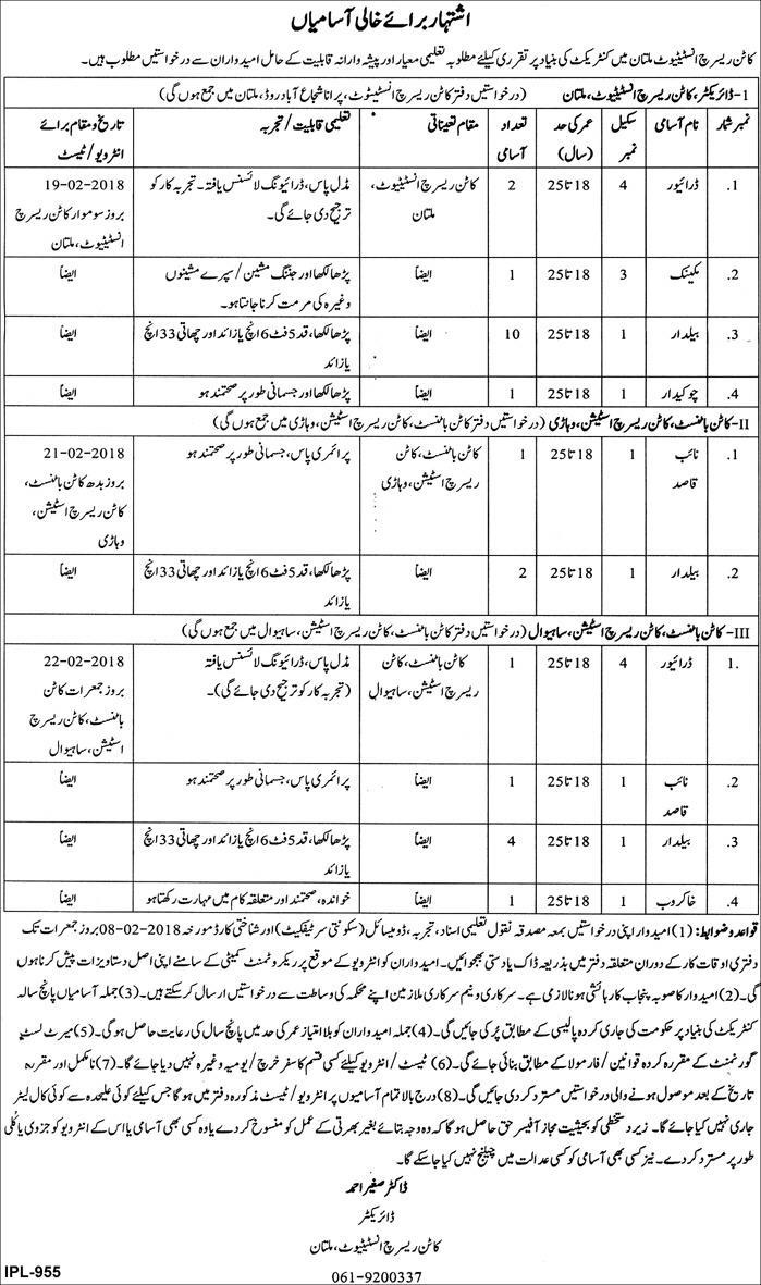 New jobs announced in Cotton Research Institute Multan Today jan 2018