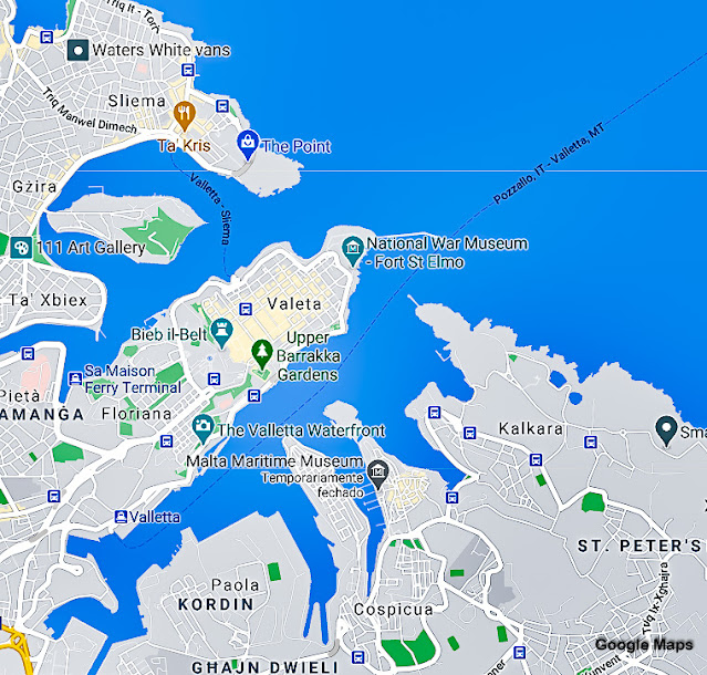 Mapa das Três Cidades de Malta