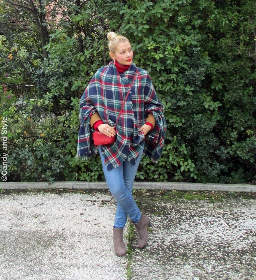 PlaidCape+CamelJacket+RedTurtleneck+SkinnyJeans+BeigeBooties+RedBag+RedLips+TopKnot - Lilli Candy and Style Fashion Blog