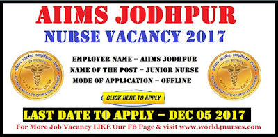 AIIMS Jodhpur Junior Nurse Vacancy 2017