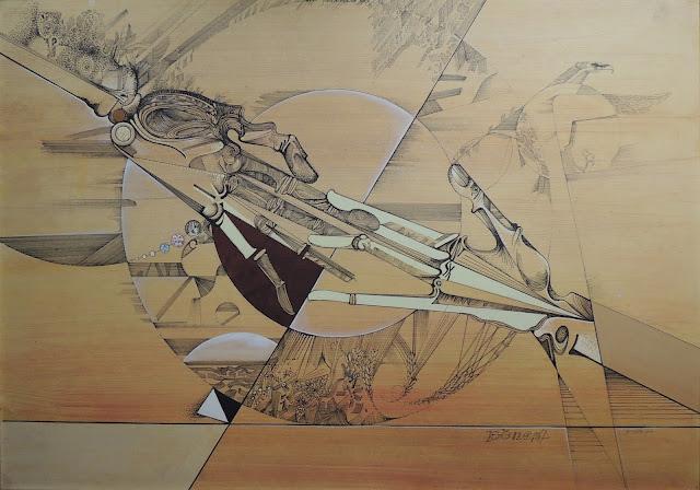 Dibujo génesis surrealista pintor catalán modernista Joan Rifà