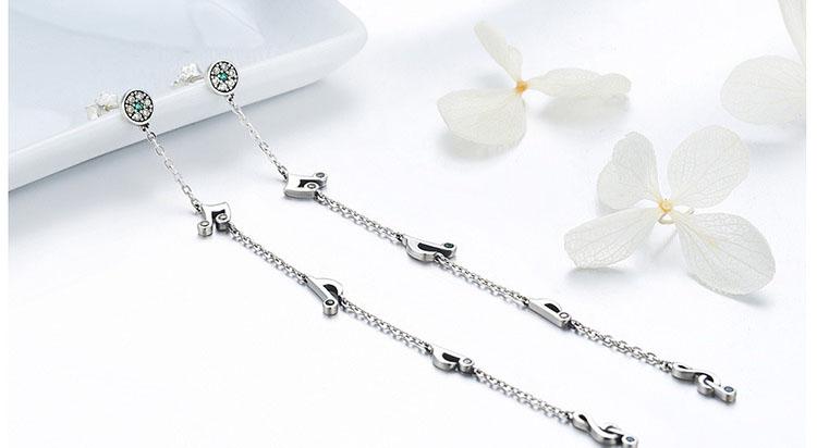 優美音符流蘇 925純銀鋯石耳環