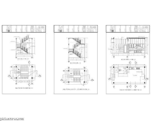 CHi tiết khải triển cầu thang nhà phố tân phú 4x22 mét