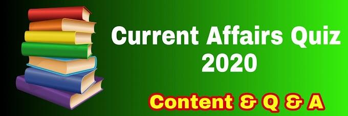 Quiz Current Affaris  for Online Study  2020