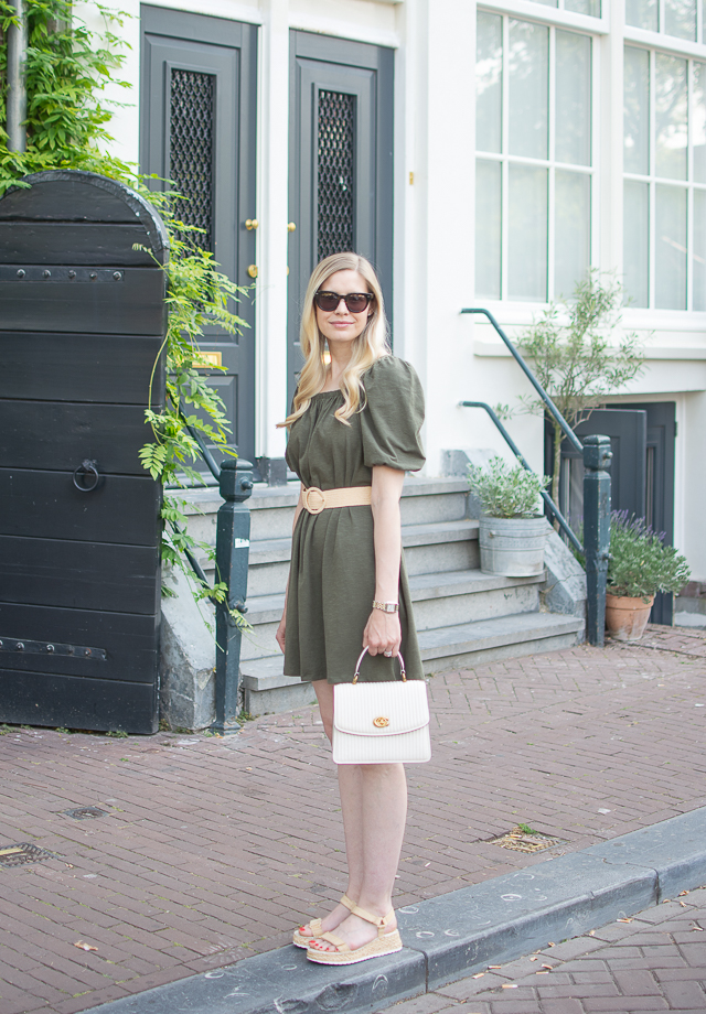 Belted Green Dress