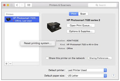 Resetting the print system on a Mac computer