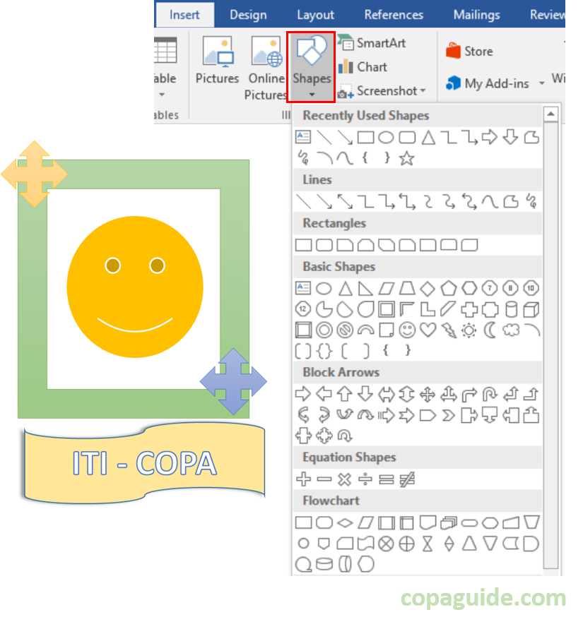 Using Different Shapes in MS-Word Hindi Notes