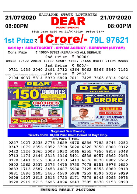 Nagaland State Lottery Sambad 21-07-2020 Today Result 8 PM