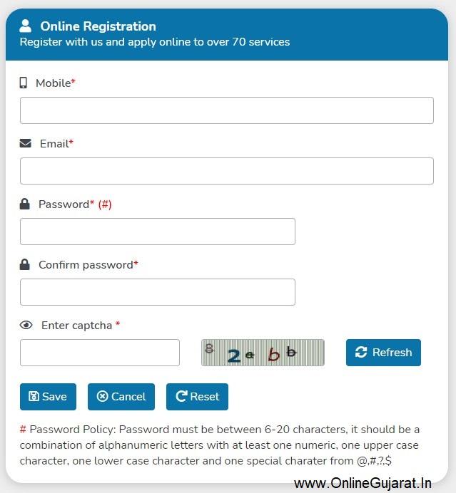 Digital Gujarat Registration Details