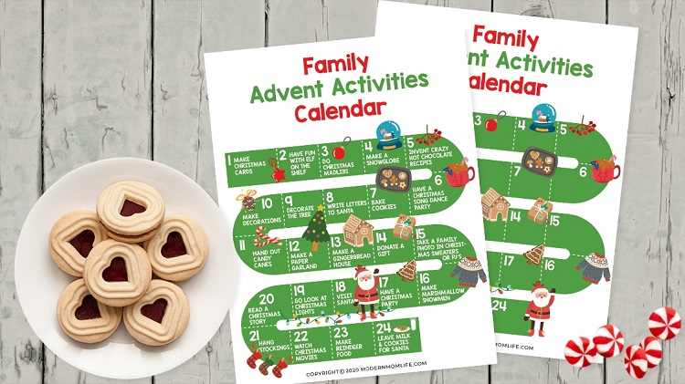 free printable family activities advent calendar