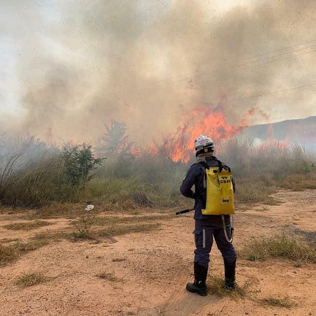 Incêndio em vegetação próximo a um residencial na BR 135 é controlado pelo corpo de bombeiros em Barreiras