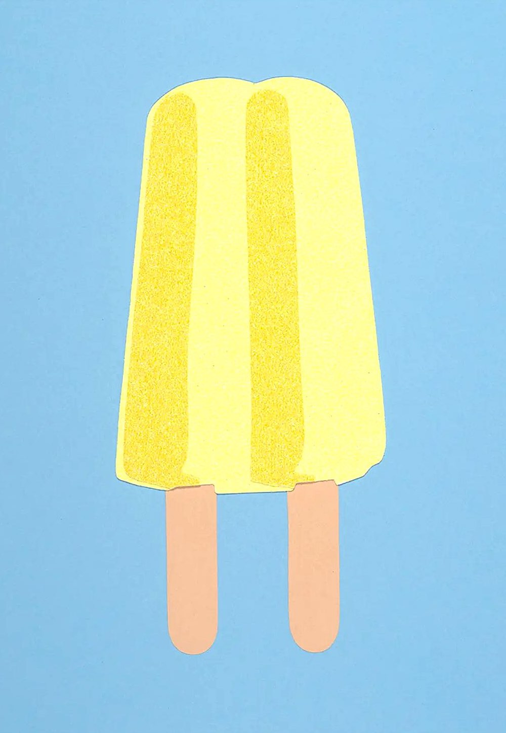 Rankin Willard art, a yellow Popsicle on a blue backgroundt