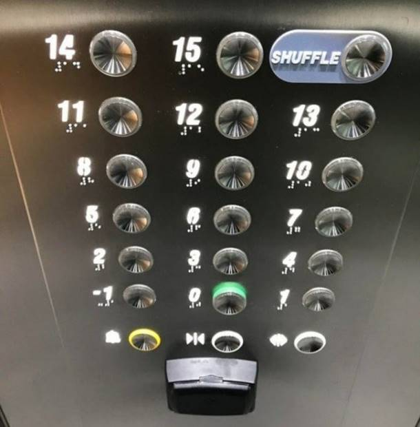 If you press the Shuffle button, the elevator randomly selects the floor.