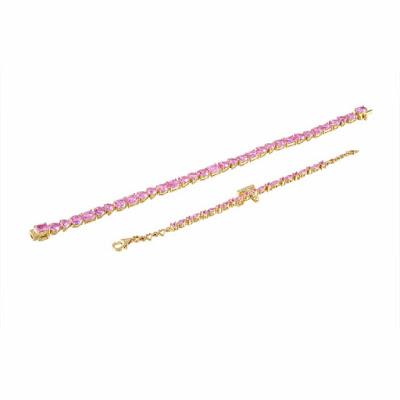 Pink Sapphire Initial Bracelet
