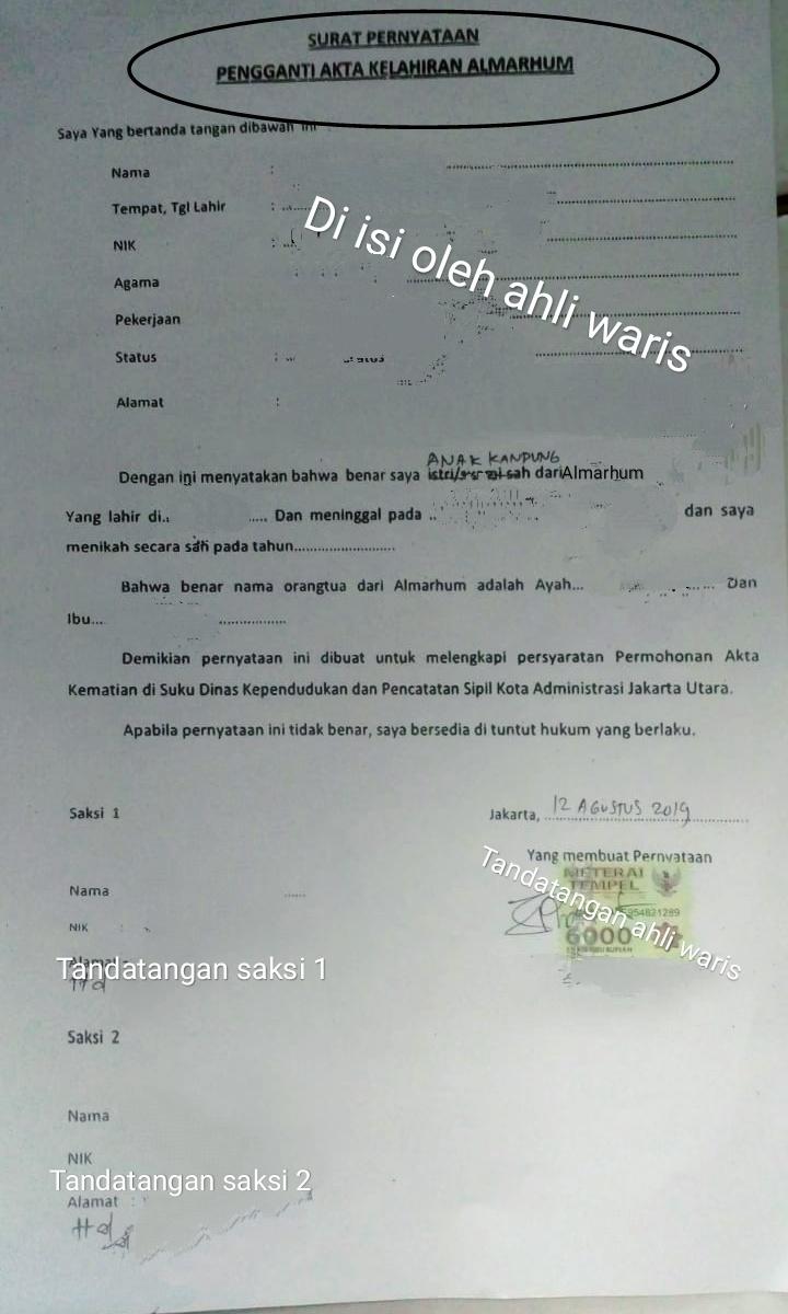 Contoh Surat Pernyataan Kematian Dari Ahli Waris - Contoh ...
